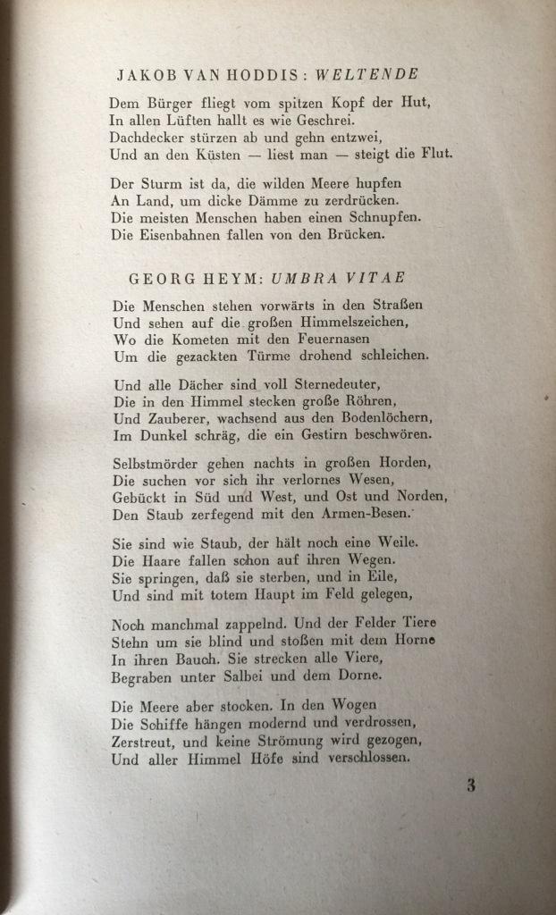 """Die erste Seite der Anthologie """"Menschheitsdämmerung. Symphonie jüngster Dichtung"""" (1920)"""
